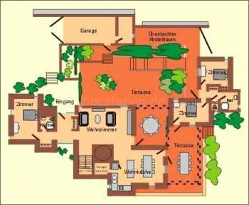 Grundriss vom Ferienhaus + Gästehaus