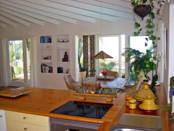 Küche - Blick in den Salon